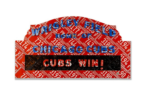 Unique Wrigley Field Sign made from license plates