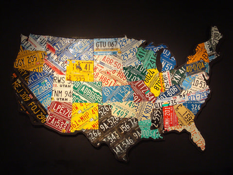 Large Scale USA License Plate Map