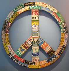 50 State License Plate Peace Sign 44""
