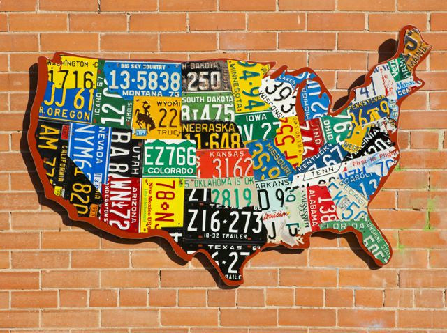 License Plate United States Map.Cutout Style Usa License Plate Map Aaron Foster Designs