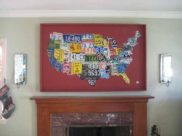 Boxed USA License Plate Map