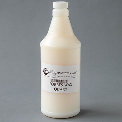 A quart-sized bottle containing cream-colored Forbes Wax Resist and shows label with product name and bar code under Highwater Clays logo.