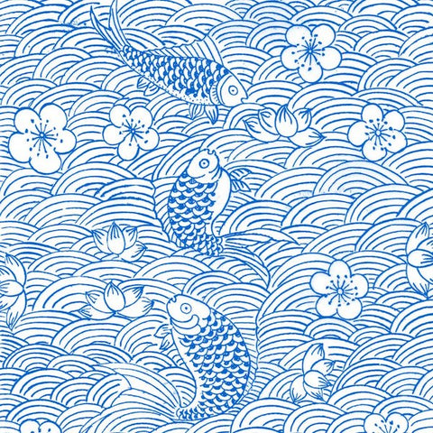 Carp, Water & Flowers (BLUE)