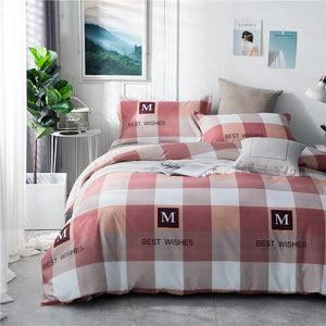 Polyester Plaid Striped Style Colorful Printed Duvet Cover