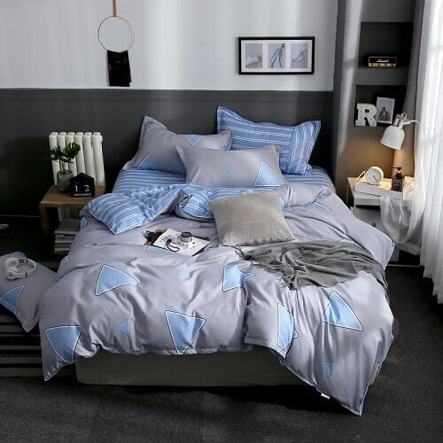 PC 100% Polyester Plaid Striped Style Colorful Printed Duvet Cover