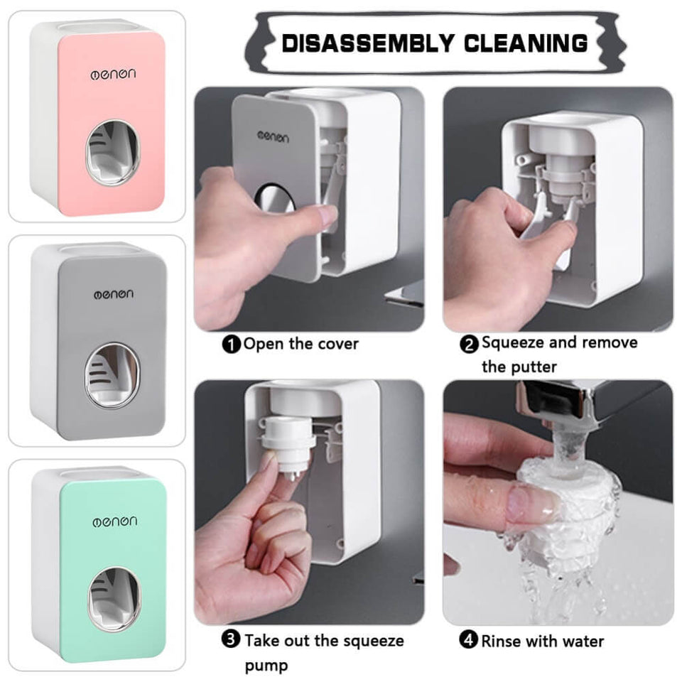 Automatic Toothpaste Dustproof Toothbrush Holder Wall Mounted Bathroom