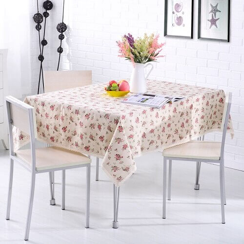 Rural Style Print Decorative Tablecloth Cotton and Linen Lace Tablecloth Dining Table Cover
