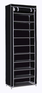 Black 10 Tier Shoe Rack 30 Pairs Shoe - AsSeenOnTheShow
