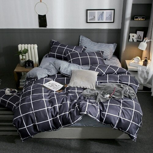 PC 100% Polyester  Striped Style Colorful Printed Duvet Cover