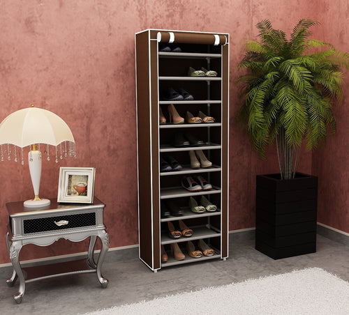 Brown 10 Tier Shoe Rack 30 Pairs Shoe - AsSeenOnTheShow