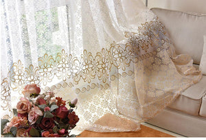 Floral Sheer Modern Curtain,  Window Treatment - AsSeenOnTheShow