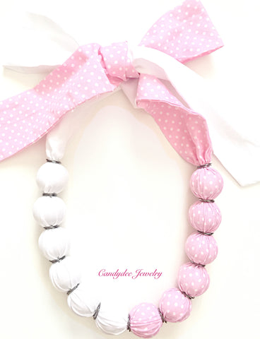 Pink Polkadot Ball Necklace