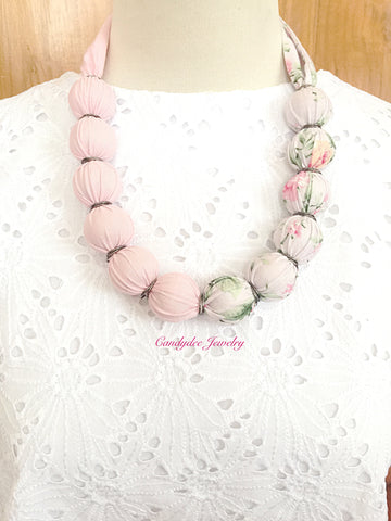 Pink Flower Ball Necklace