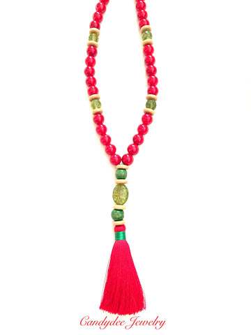 Red Socks Tassel Necklace