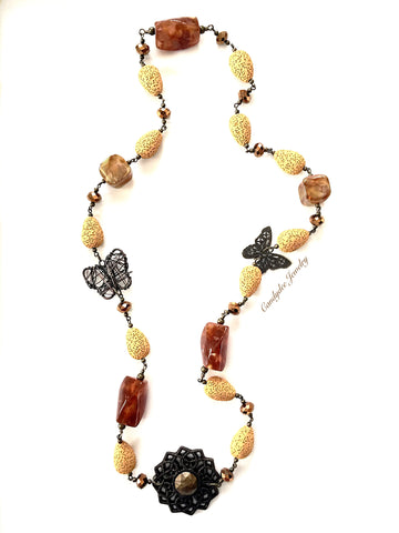 Butterfly sponge necklace