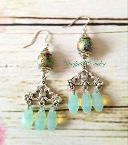 Aqua pool earrings