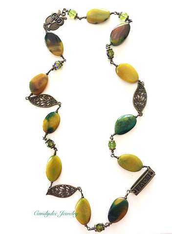 Olive Stone Swarovski Necklace