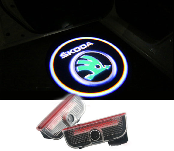 skoda superb new logo welcome door light projector laser led plug&play 2009-2015