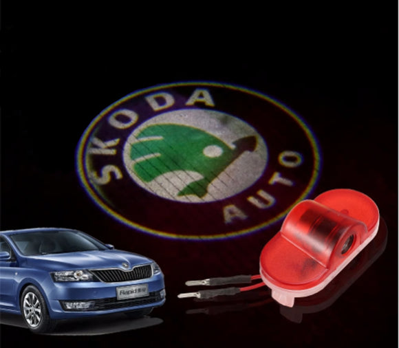 skoda octavia logo welcome door light projector laser led plug&play oem