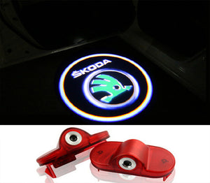 skoda octavia logo welcome door light projector laser led plug and play 2007-2012