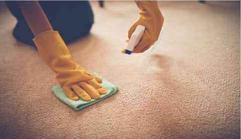 Cleaning a carpeted floor with cloth and liquid