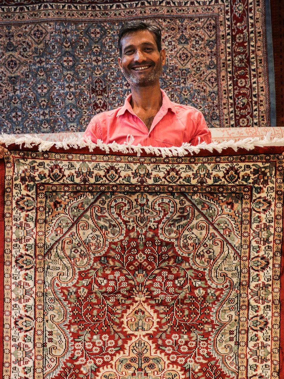 Iqbal with his recent carpet made