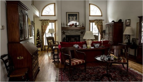 Traditional rug in dining room