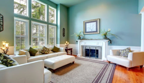 Living room with a rug