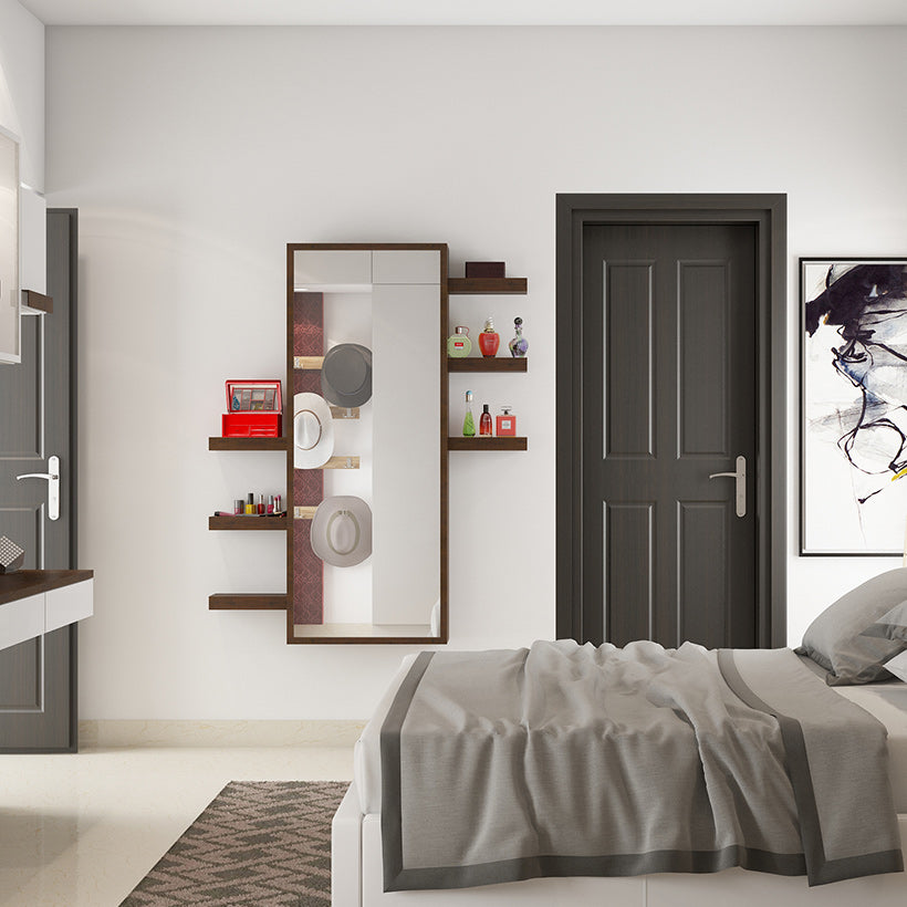 Mirror on the wall of a bedroom