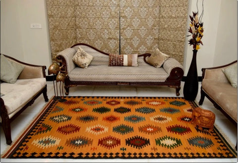 Handwoven dhurrie rug for dining room