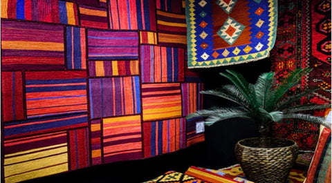 Tapestry with colorful background