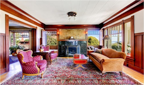 Traditional living room with extra large area rug