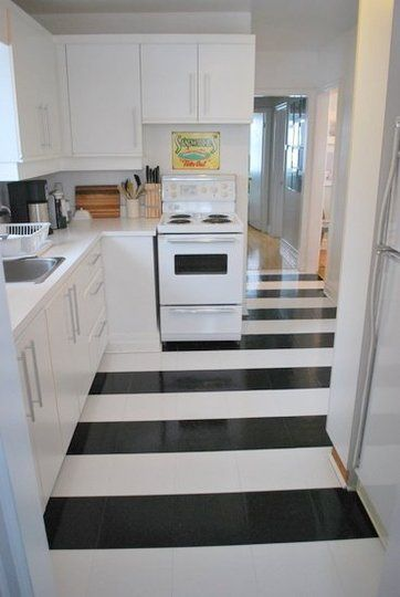 Vertical and/or horizontal lines Kitchen flooring