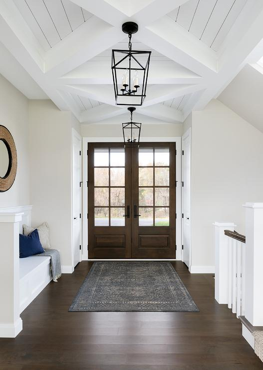 Entryway rug in front double door