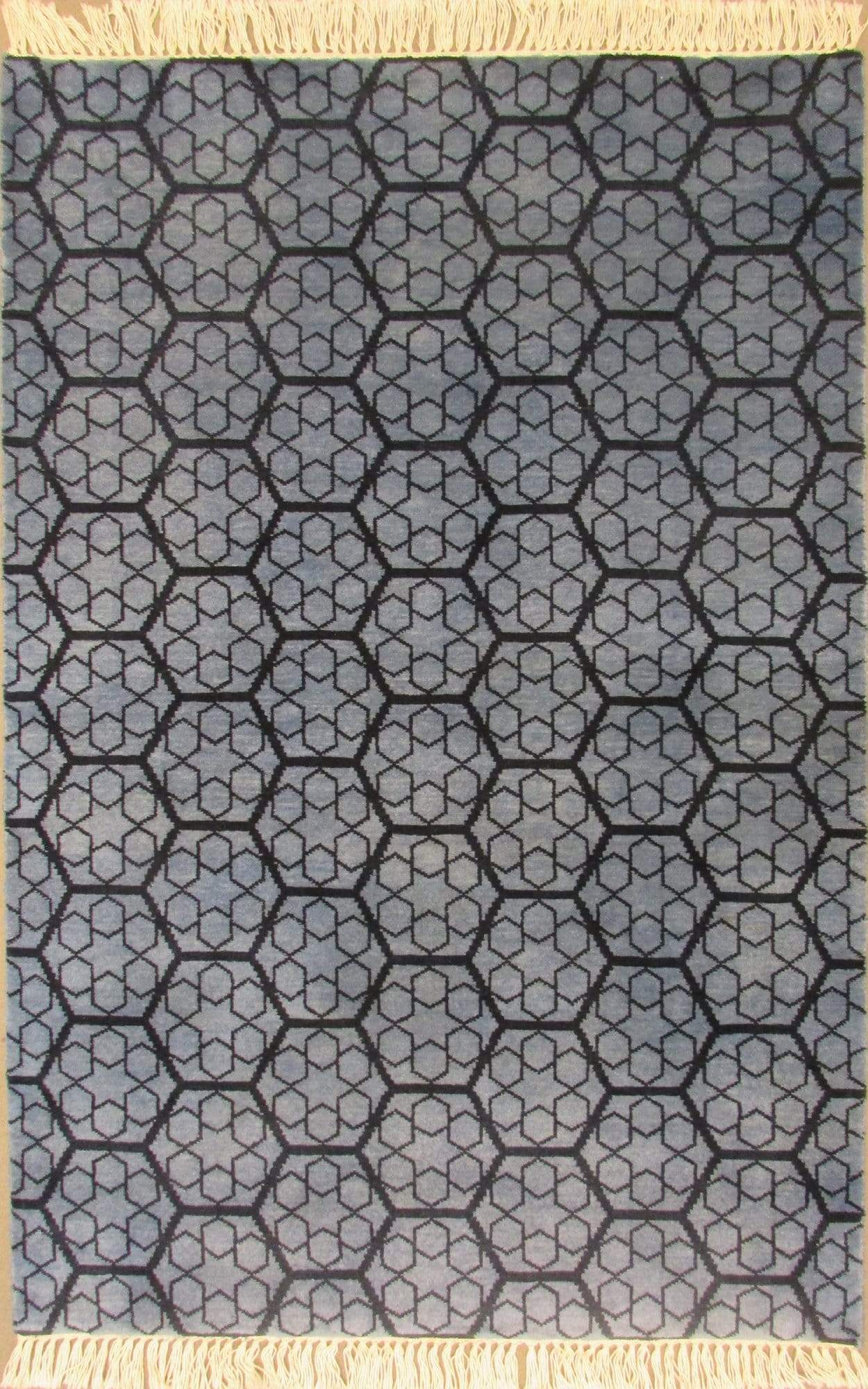 Honeycomb: Modern Rug for Living Room, Bedroom, Dining Room, and Office (Blue)