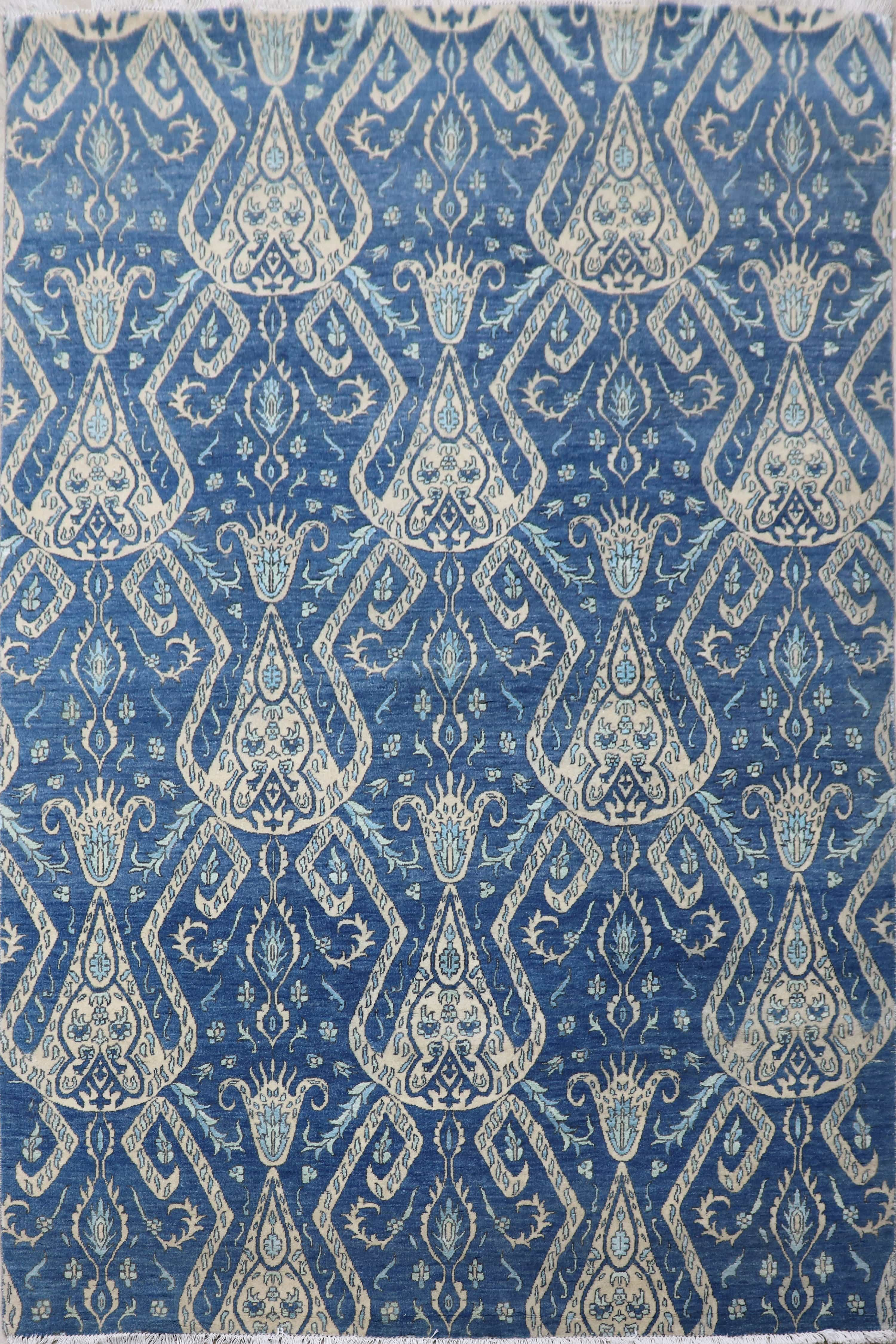 Tribe of Blues: Modern Rug for Living Room, Bedroom, Dining Room, and Office
