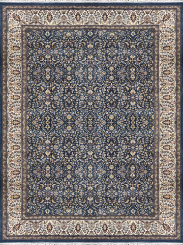 Large Blue area Rug with Floral Pattern 9 x 12