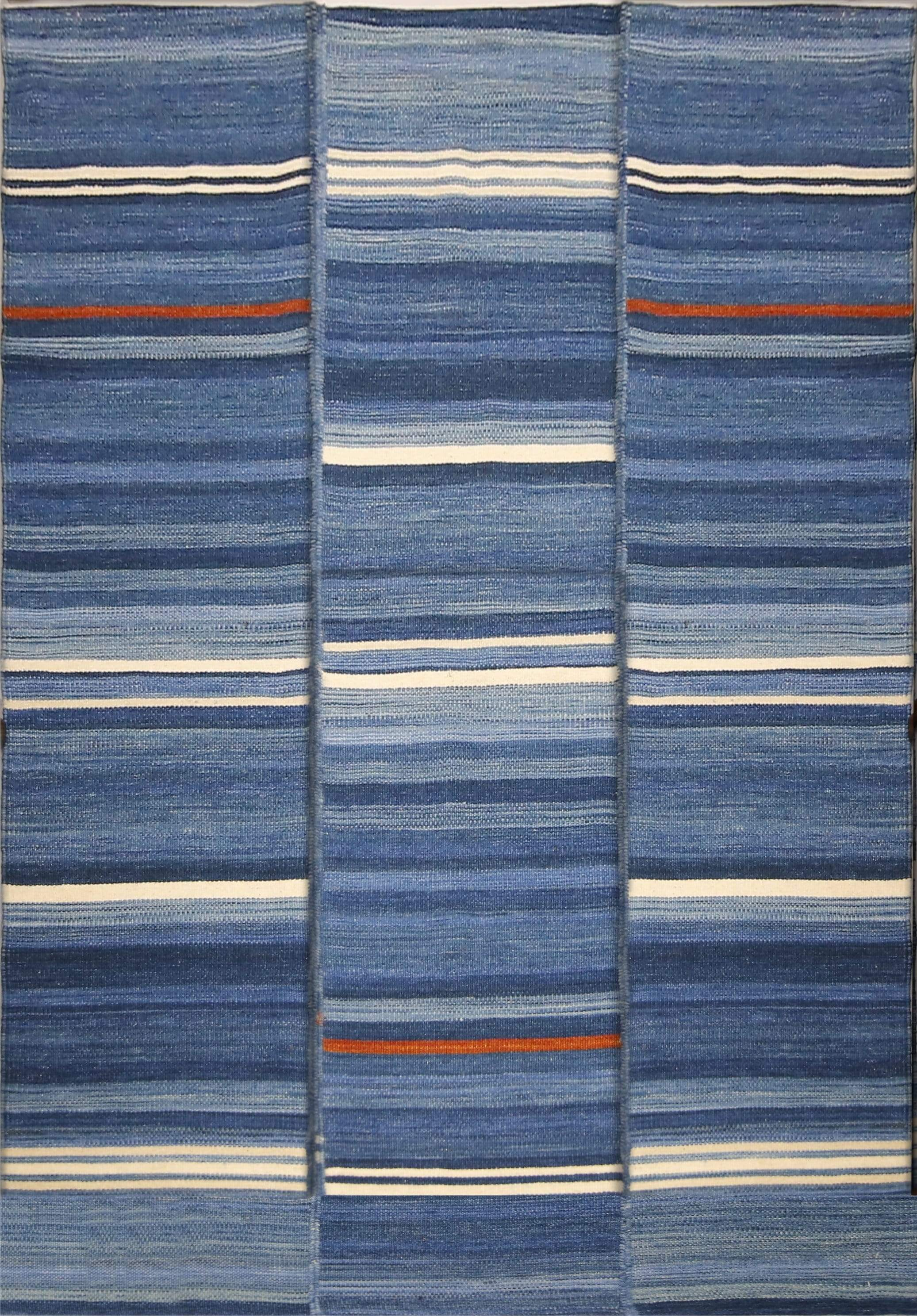 Contemporary Linear Stripes Design Patterned Quality Rug - Multi Colored Handwoven Rug