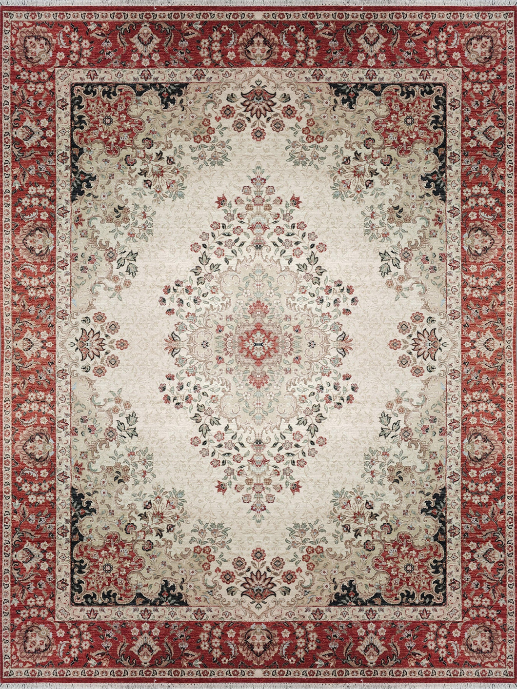 The Rugs Cafe 9x12 / Cream Red Cream Traditional Rug with Medallion
