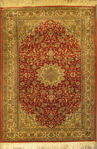 The Rugs Cafe Carpets 2.5x4 / Red Charbagh (Four Gardens) Hand Knotted Silk Premium Rug- Red