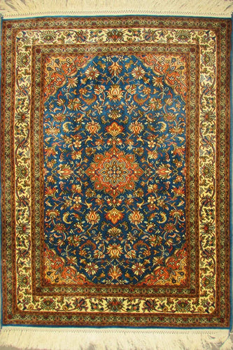 The Rugs Cafe Carpets 2x3 / Blue Charbagh (Four Gardens) Hand Knotted Silk Area Rug (Premium)- Blue