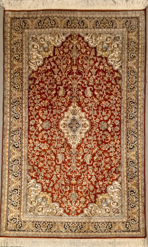 The Rugs Cafe Carpets 3x5 Charbagh (Four Gardens) Design Silk Carpet - Red