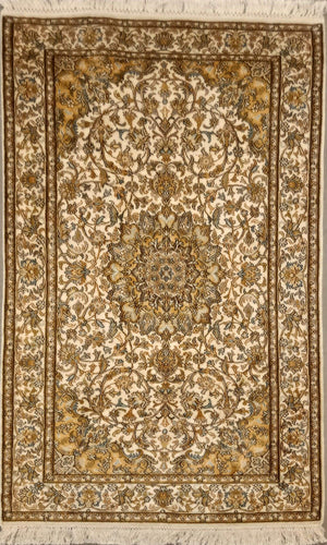 The Rugs Cafe Carpets 3x5 Charbagh (Four Gardens) Design Silk Carpet - White