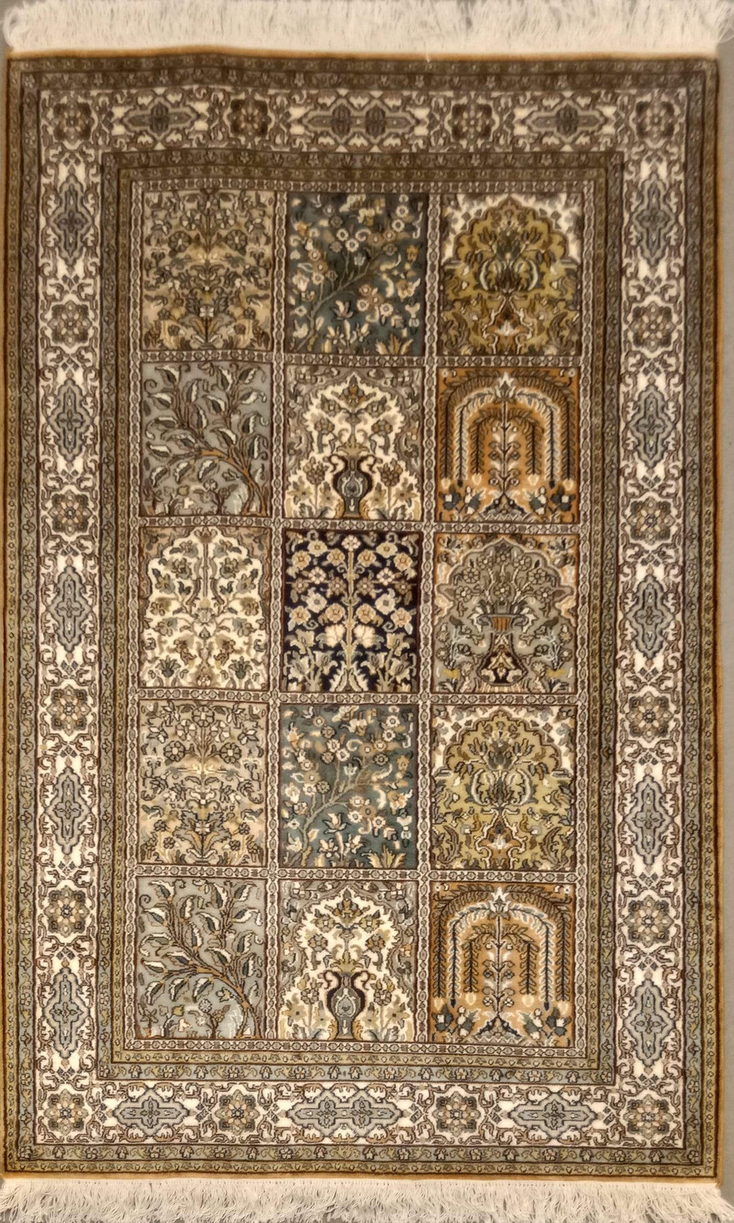 The Rugs Cafe Carpets 3x5 Mughal Garden Design - Silk Rug