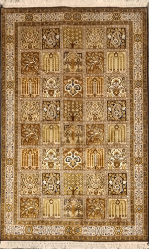 The Rugs Cafe Carpets 3x5 Mughal Garden Design: Silk Rug