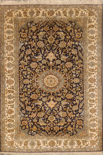 The Rugs Cafe Carpets 4x6 / Black Black Silk Rug with Medallion