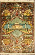 Load image into Gallery viewer, The Rugs Cafe Carpets 4x6 / Blue Taj Mahal Design Hand Knotted Silk Carpet