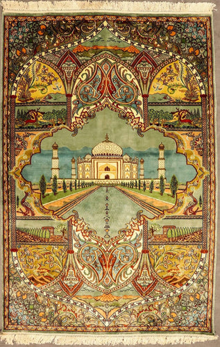 The Rugs Cafe Carpets 4x6 / Blue Taj Mahal Design Hand Knotted Silk Carpet