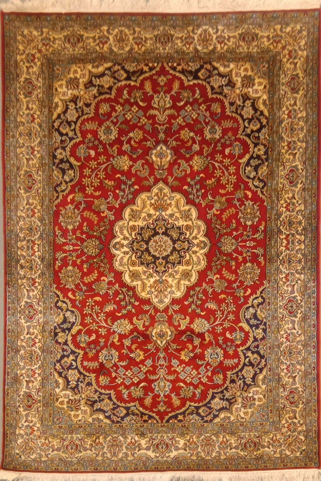 The Rugs Cafe Carpets 4x6 Charbagh (Four Gardens) Hand Knotted Silk Area Rug- Red
