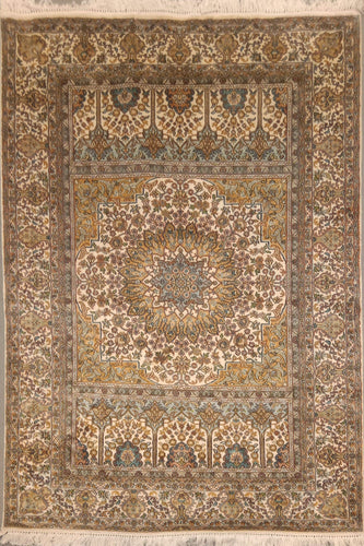 The Rugs Cafe Carpets 4x6 Silk Rug with Floral Medallion